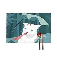 猫が魚を食べる ッグ ランチョンマット 4枚入 プレースマット テーブルマット 耐える 飾り 食卓 雰囲気 丸洗い 華やか おしゃれ テーブル 断熱 水洗い 大人 子供 対応 30*45cm