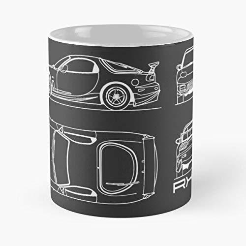 and Mazda Fast Sports Rx Car 7 Rx7 Blueprint Furious Best Taza de café de cerámica de 315 ml Eat Food Bite John Best Taza de café de cerámica de 315 ml