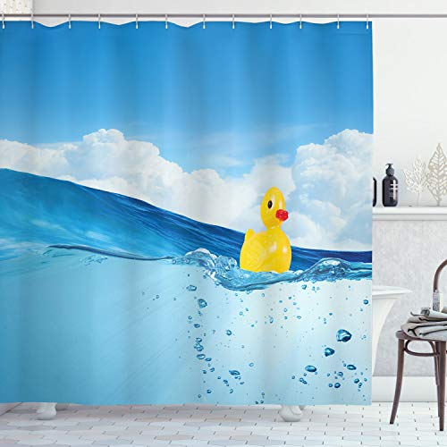 Ambesonne Rubber Duck Shower Curtain, Little Duckling Toy Swimming in Pond Pool Sea Sunny Day Floating on Water, Cloth Fabric Bathroom Decor Set with Hooks, 70' Long, Blue Yellow