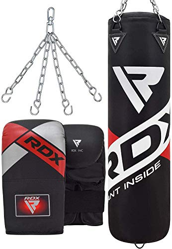 RDX Sac de Frappe Rempli Lourd Punching Ball MMA Muay Thai Kickboxing Arts Martiaux Boxe avec Gants Chaine Suspension Adulte Punching Bag (Blanc, 5FT)