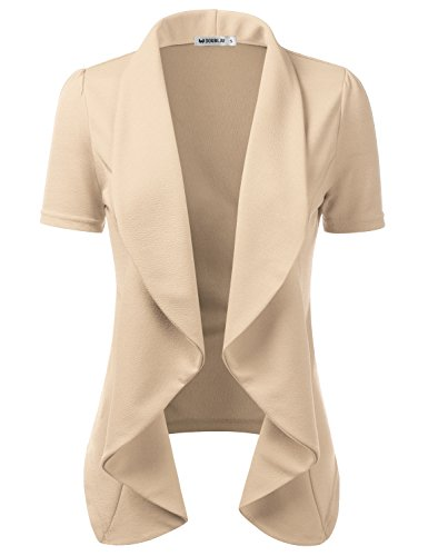 Doublju Womens Lightweight Thin Short Sleeve Open Front Blazer with Plus Size Stone 2XL