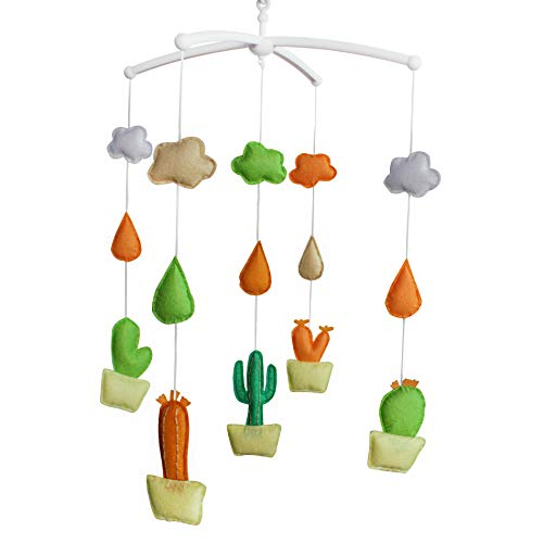 Cactus Baby Bed Decor Baby Crib Decoration Newborn Gift Non-Woven Fabric Musical Mobile