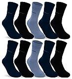 10 Paar Comfort Socken Damen und Herren ohne Gummi und ohne Naht Baumwolle Komfortb& (Jeans Navy Schwarz 39-42)