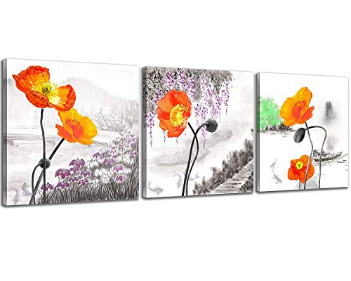 NAN Wind Small Size Poppy Flowers Canvas Prints 3 Panels Wood Framed Orange Poppy Print Wall Art Flowers Print Painting 12x12inches 3pcs/set