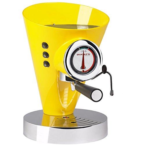 BUGATTI, Diva Evolution, Machine à Café Expresso et Cappuccino, Pour Café Moulu et Dosettes, Fonction vapeur non-stop, 15 Bar, 950 W, Capacité 0,8 Litre, Design Élégant, Couleur Jaune