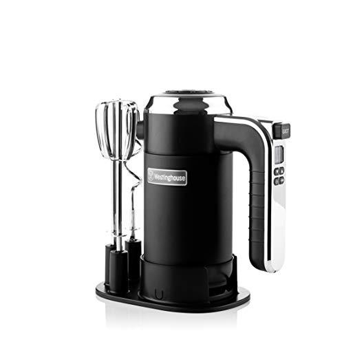 Westinghouse Handmixer Retro - Handrührgerät mit 6 Stufen + Turbo-Funktion, ideal als Küchenquirl & zum Kneten (2er Set), Rührgerät mit Timer, Farbe: Schwarz