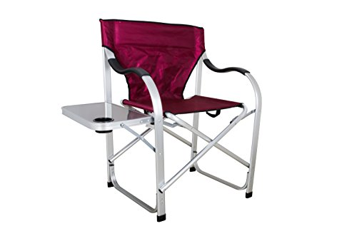 Ming's Mark Stylish Camping SL1215 Burgundy Heavy Duty Folding Camping Director Chair with Side Table
