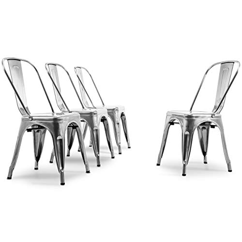 BELLEZE Vintage Style Metal Dining Chairs - Gunmetal (Set of 4) Stackable Backrest Chair for Kitchen & Office