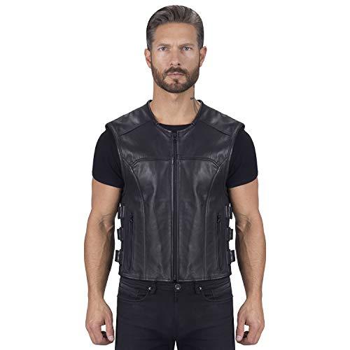 Viking Cycle Odin Premium Cut Club Motorcycle Vest for Men - Lightweight Buffalo Biker Genuine Leather Zip-Up (2XL)