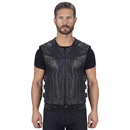 Viking Cycle Odin Premium Cut Club Motorcycle Vest for Men - Lightweight Buffalo Biker Genuine Leather Zip-Up (XL)