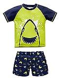 Nixlepus Todder Boy Swim Set Short Sleeve Swimsuit Rash Guard Bathing Suits Two Piece Shark Shiny Green, 5T