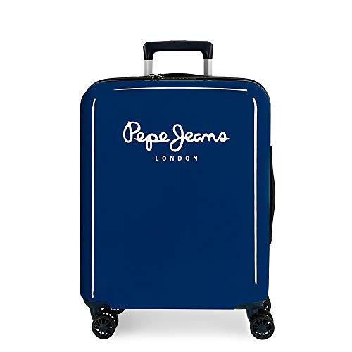 Pepe Jeans Albert Maleta de Cabina Azul 40x55x20 cms Rígida ABS Cierre TSA Integrado 38,4L 2 kgs 4 Ruedas Dobles Equipaje de Mano