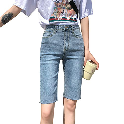 Jeansshorts Damen Enge Fünf-Punkt-Hosen Außerhalb Tragen Sommer Hohe Taille War Dünne Reithosen Shorts 25 Hellblau