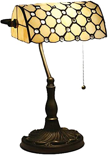 10inch Vintage banquero Lámparas de Mesa de Tiffany Estilo Escritorio Lámpara de Escritorio Lámparas de Lectura Lámpara de Noche con Base de aleación para la Oficina de Estudio Home Coffee Bar Do