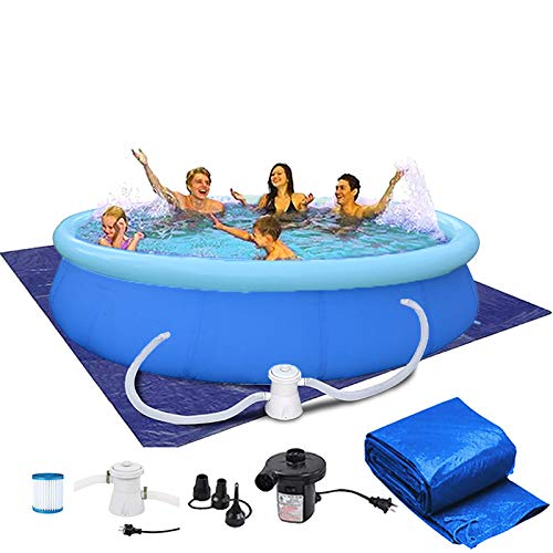 TAHVO Inflatable Swimming Above Ground Pool for Backyard Easy Set Pool with Filter Pump, Air Pump, Top Cover and Ground Cloth (12 ft x 36 in w/Cover)
