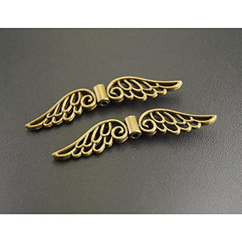 FGHHT 8 Piezas dealas de ángel de Bronce Cuentas espaciadoras Colgantes de dijes Hechos a Mano53x10mm
