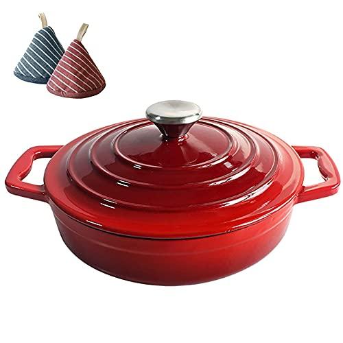 aedouqhr Pentola da Forno Olandese in Ceramica, Forno Olandese in ghisa Smaltata Antiaderente con Coperchio, casseruola di qualità Premium Ideale;r Rosso Famiglia 22 cm: