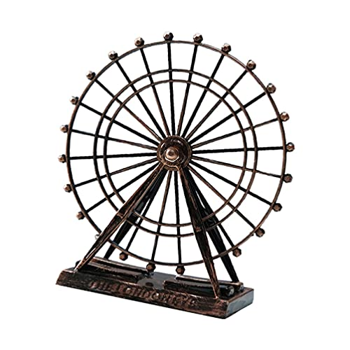 VOSAREA Metal Noria 3D Metal Modelo Retro Noria Modelo Escultura de Hierro Forjado Ornamentos Regalo Decoración Hogar Recuerdo Oro Rosa