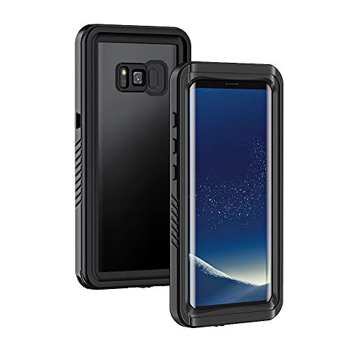 Lanhiem für Samsung Galaxy S8 Plus wasserdichte Hülle, [IP68 Zetrifiziert Wasserdicht] Handy Hülle mit Eingebautem Displayschutz, Stoßfest Staubdicht Schneefest Outdoor Schutzhülle - Schwarz