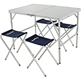 KingCamp Folding Camping Table Stool Suit, Adjustable Portable Lightweight Compact Picnic Table with 4 Fishing Stools,for Indoor or Outdoor Party & Activities, Aluminum