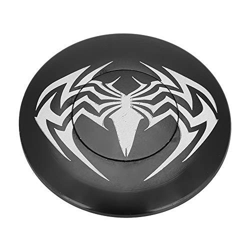 Alomejor Fahrrad Headset Kappe Aluminiumlegierung Schwarz Spinnenmuster Runde Kappe Abdeckung für Radfahren Zubehör(Spinne)