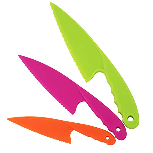QincLing 3 Teiliges Kinderküchenmesser Set, Kindersichere Messer aus Kunststoff Sichere Nylon-Kochmesser Kinder Messer Kochen Küchenmesser in 3 Farbe für Blattsalat, Salat, Kuchen, Brot, Gemüse, Obst