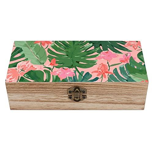Caja de madera decorativa de coral tropical en forma de U, color rosa, caja de regalo y caja de almacenamiento para el hogar, caja de regalo, caja de té de almacenamiento de 7.9 x 3.7 x 2.3 pulgadas