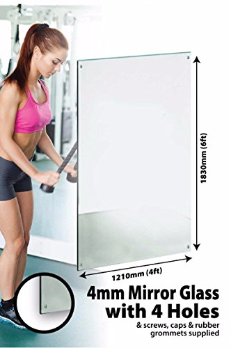 Large Mirror Glass Safety Backed With 4 Holes Home Gym 6Ft X 4Ft (183cm X 122cm)