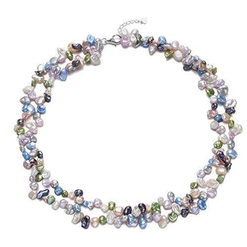 TreasureBay Perlenkette zweireihig, mehrfarbig, Keshi-Zuchtperlen