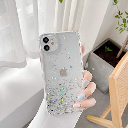 LIUYAWEI Estuche para teléfono de Lujo con Degradado y Purpurina para iPhone 11 Pro MAX SE 2020 X XR XS 7 8 Plus Carcasa Transparente a Prueba de Golpes Bling Bling, Transparente, para iPhone 8plus