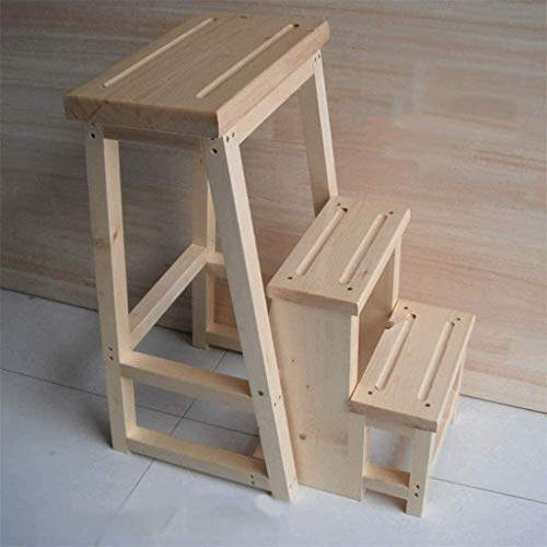 Suge Wooden Ladder Stool 3 Step ladders Wooden Foldable Step Stool Multifunction Ladder Household stools (Color : Wood Color, Size : -)