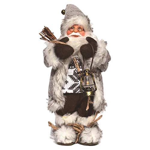 Clevoers Pupazzo di Babbo Natale - 30cm Grande Figura Natalizia in Piedi Padre Tradizionale Deluxe - Babbo Natale Gigante Decorazione per casa e vetrine