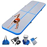 Air mat Tumbling track 10ft 13ft 16ft 20ft Gymnastics Mat Thickness 4 inches for Home Use/Gym/Yoga/Training/Cheerleading/Outdoor/Beach/Park/Water/Kid with Electric Air Pump Carry Bag