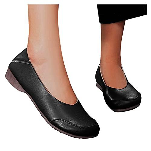 FACAIAFALO Zapatos Planos Para Mujer Mocasines Zapatos Individuales Punta Cuadrada Boca Baja TacóN Bajo Suela Suave Un Pie Zapatos Individuales Casuales