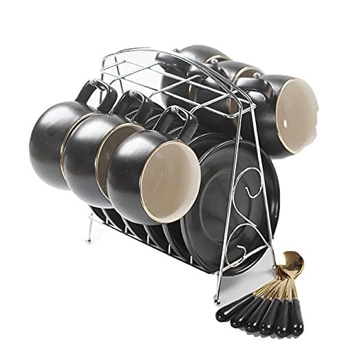 Un juego de tazas de café de tambor taza de moda retro taza de vidrio de agua con plato cuchara-Classic negro 6 sets_201-300ml