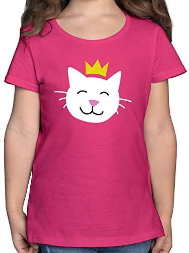 Karneval & Fasching Kinder - Katze Prinzessin - 128 (7/8 Jahre) - Fuchsia - Katzen Kinder Shirt - F131K - Mädchen Kinder T-Shirt