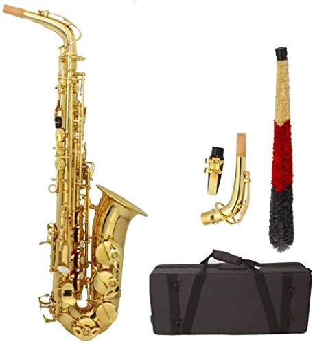 OLYM STORE Professional Alto Drop E Saxophone Gold, Alto Saxophone with Zippered Carrying Case Mouth Piece Reeds 3 Aglet