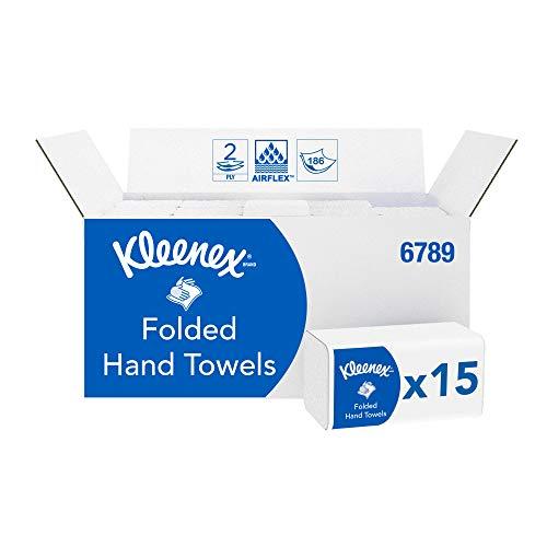 Kleenex Papierhandtücher mit Interfold-Faltung 6789 – 2-lagige Papiertücher mit V-Faltung – 15Packungenx186 Handtücher (insges. 2.790)