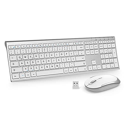 Kabellose Tastatur und Maus, 2,4G Ultradünne Funktastatur und Maus mit Ziffernblock, Full-Size Wiederaufladbare QWERTZ Tastatur für Computer, Laptop, Notebook, Windows(Weiß und Silber)