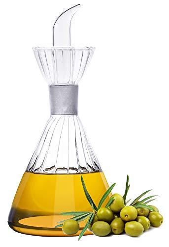 125ml-Botella dispensadora de aceite de oliva de vidrio transparente - vinagrera de aceite y vinagre con verter sin goteo y sin necesidad del embudo - Decantador de aceite de oliva para cocina