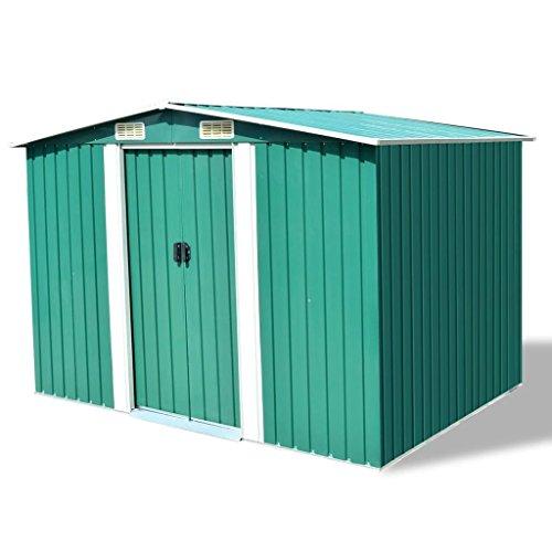 SENLUOWX Abri de jardin en métal vert pour ranger une grande variété d'outils et d'équipements 257 x 205 x 178 cm