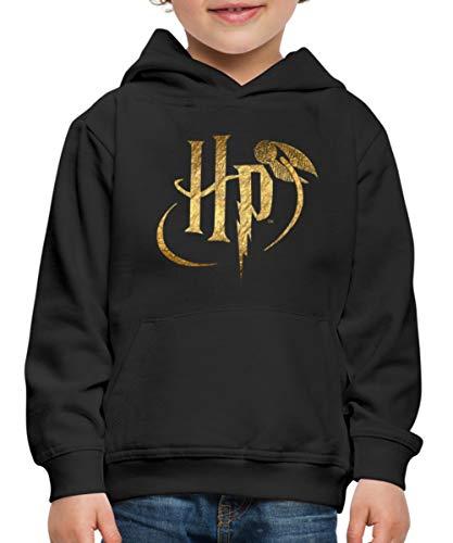 Spreadshirt Harry Potter Logo Le Vif d'or Pull À Capuche Premium Enfant, 12-14 Ans, Noir