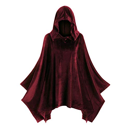 Aniywn Women's Halloween Vintage Cape Women Solid Color Hooded Cloak Coat Cosplay Costumes Tops(Red,L)