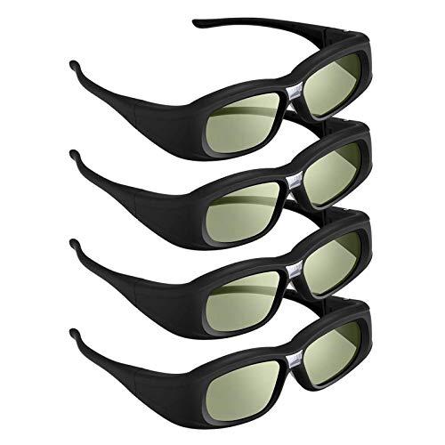 DLP Link 3D Glasses, 144 Hz Rechargeable 3D Active Shutter Glasses for 3D DLP Projectors, Compatible with Acer, ViewSonic, BenQ, Vivitek, Optoma, Panasonic, Dell, Viewsonic (L-4Pack)
