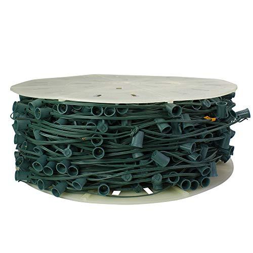 "Vickerman 1000' Commercial C9 Socket Sets Spool - 12"" Spacing Green Wire"