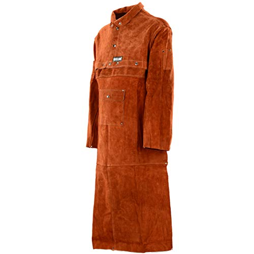 QeeLink Leather Welding Work Apron with Sleeve - Heavy Duty Leather Flame Resistant Welding Jacket | Blacksmith Apron (X-Large, Brown 48-Inch)