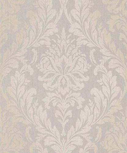 Casa Padrino Barock Textiltapete Grau/Beige 10,05 x 0,53 m - Wohnzimmer Tapete - Deko Accessoires im Barockstil