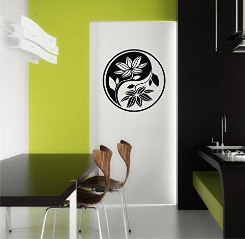 Sticker mural Yin Yang Yin Lotus Lotus Fleur caractères dans 33 couleurs mat ou brillant autocollants Mandala Yoga Sticker mural 60 cm - Gris clair brillant