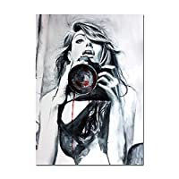 抽象的な女性のボディーアート白黒壁アートキャンバス北ヨーロッパポスターリビングルーム家の装飾壁画60x80cmフレームレス
