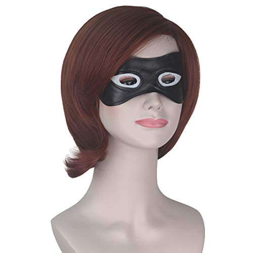 Women Girl Short Wavy Copper Brown Hair Prestyled Costume Wig with Black Eye Mask